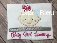 Adorable Baby Girl Loading Machine Applique Embroidery Design