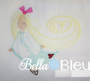 Sketchy Adorable Sophia Girl Colorwork Embroidery design