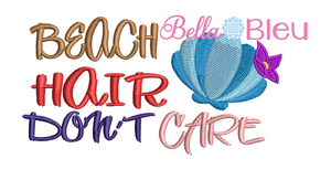 Beach hair don't care baseball hat cap machine embroidery design