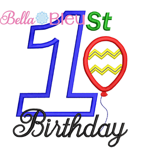 1st Birthday Applique Embroidery Design SL