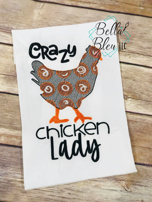 Crazy Chicken Lady Sketchy machine embroidery design