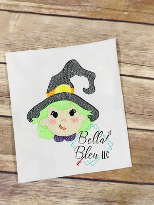 Halloween Sketchy Cute Witch embroidery design