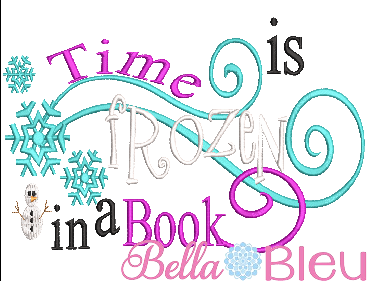 5x7 hoop Inspired Frozen Time is frozen in a book Reading Book Quote