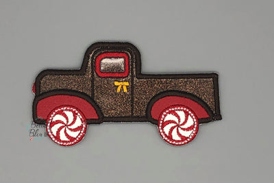 Gingerbread Christmas Vintage Truck Machine Applique Embroidery design -4 sizes
