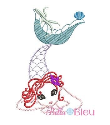 Sketchy Mermaid Machine Embroidery Designs Reading pillow
