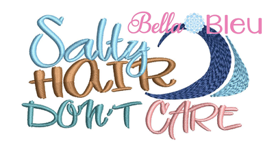 Salty hair don't care hat machine embroidery design