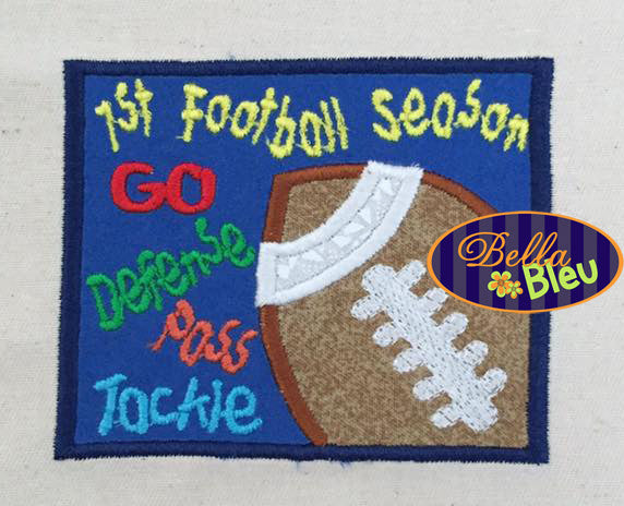 1 st First 1st Football Season Machine Applique Embroidery Design