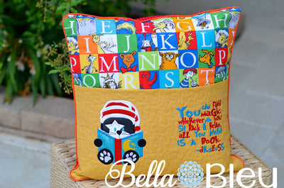 Ready to Read Kitty Cat Dr Suess Inspired hat &  saying Machine Applique Designs