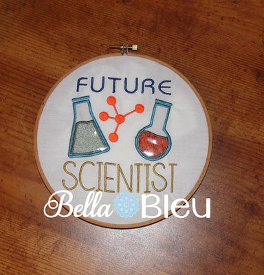Back to School Future Scientist with Beekers Machine Embroidery Applique design