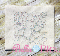 Fairy fairies quilt redwork bean stitch machine embroidery design