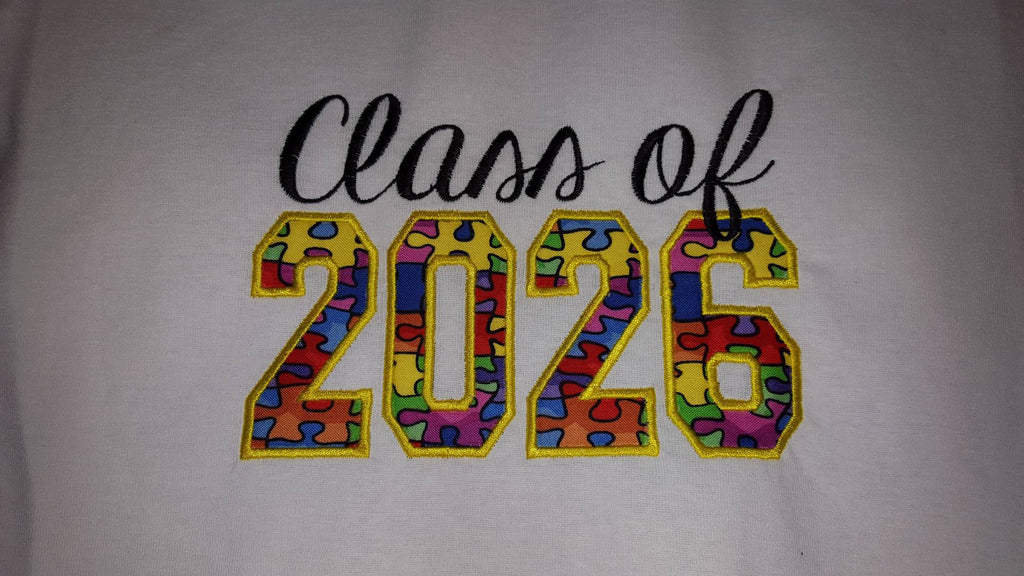 Class of 2026 Graduation School Machine Applique Embroidery Design