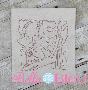 Fairy fairies quick stitch bean quick stitch quilting redwork machine embroidery design