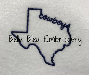 State of Texas with Signature Cowboys baseball hat cap machine embroidery design