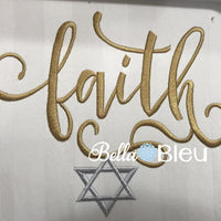 Faith with Star of David Jewish Holiday Religious Machine embroidery design