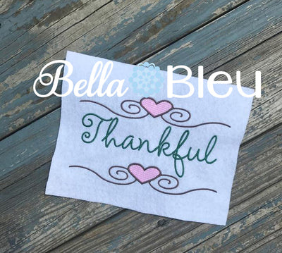 Thankful with hearts wording saying machine embroidery design