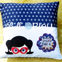 Super hero Reading pillow bam saying machine embroidery applique design