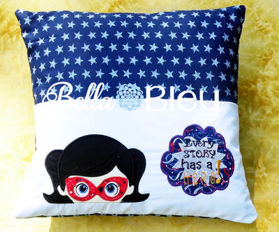 Super Hero Girl with Mask Machine Applique Embroidery designs reading pillow towel topper