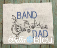 Marching Band Dad Music Notes Machine Embroidery Design