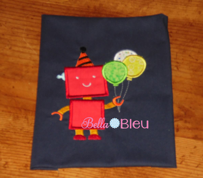 Robot holding Birthday Balloons machine applique embroidery design