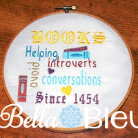 Reading Subway Art Books Helping Introverts avoid Conversations since 1454 Reading Pillow saying machine embroidery design
