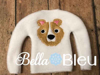 Collie Dog Mascot Lassie Fans Elf Sweater shirt in the hoop machine embroidery design
