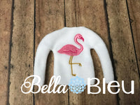Florida Flamingo Elf Sweater Shirt Machine embroidery in the hoop design