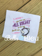 Reading Pillow Quote Turn out All Right Teapot Princess Machine Embroidery Applique Design
