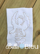 Angel with Wish Saying bean stitch embroidery design