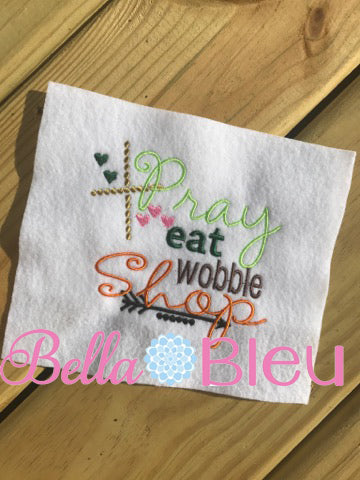 Thankgiving Saying Pray Eat Wobble Shop with arrows arrow and hearts Machine Embroidery Design