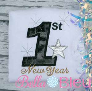 1st New Year Machine Applique Embroidery Design 5x7