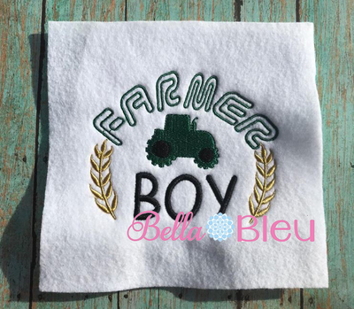 Farmer Boy with Tractor Machine Filled Embroidery Design