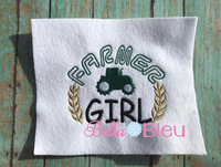 Fun Farmer Girl with tractor and wheat filled machine embroidery design