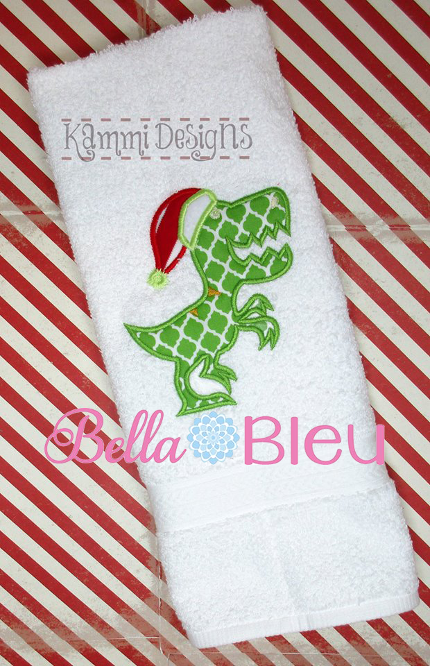 Christmas Santa Dinosaur Dino Machine Applique Embroidery Design