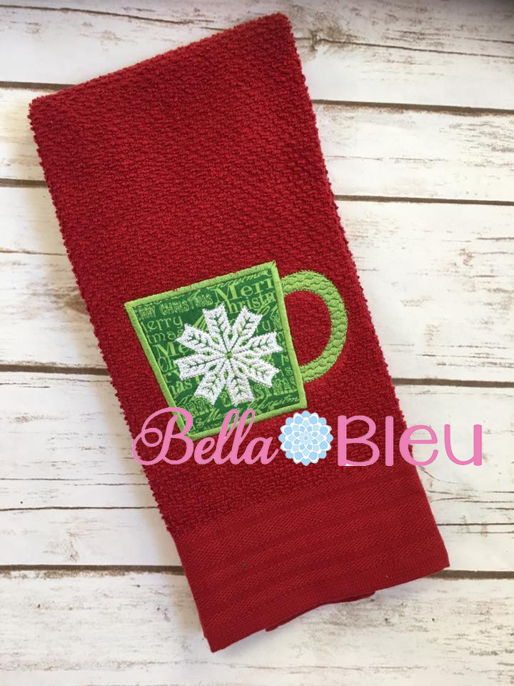 Christmas Embroidery Design, Christmas Snowflake Applique Embroidery Design, Snowflake Mug Embroidery Applique Design, Coffee Mug