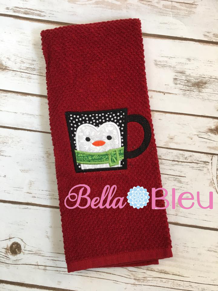 Christmas Penguin Mug Embroidery Applique Design, Coffee Mug