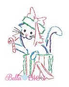 Christmas Bean Stitch Cat in a Christmas Box machine embroidery design