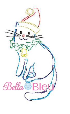 Bean Stitch Cat with Bell and holly machine embroidery design