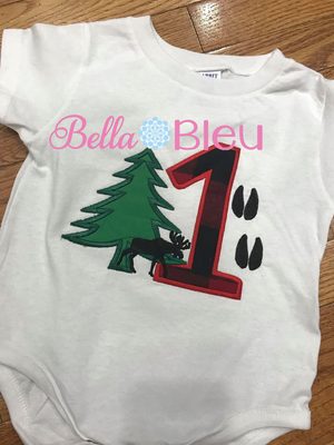 Baby's 1st First Birthday Lumberjack theme with pine tree , moose and deer tracks