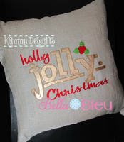 Holly Jolly Christmas with Holly Machine Embroidery Bean Stitch design