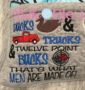 Men Ducks Trucks & 12 Point bucks reading pillow embroidery saying with Vintage Red truck, duck and some buck shots embroidery design