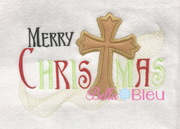 Merry Christmas Applique with Cross Saying