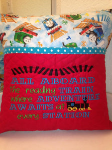 All Aboard Train Reading Pillow Saying Machine Embroidery Design