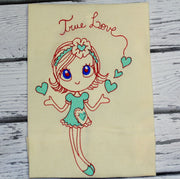 Sketchy Valentines True Love Girl Machine Embroidery Design