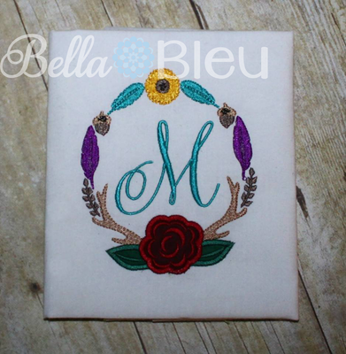 Flower and Antler Floral Monogram Frame Wreath