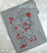 Sweetheart Sketchy Valentines Heart Machine Embroidery Design