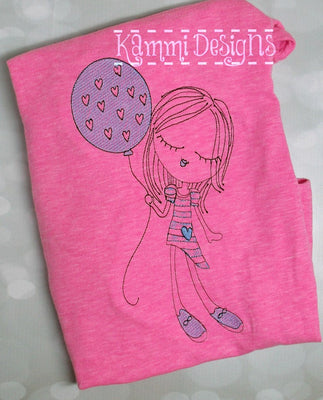 Sketchy Girl with Balloon Valentines Machine Embroidery Design
