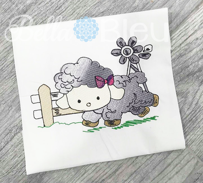 Baby Lamb Sheep with Windmill Color blend sketchy design