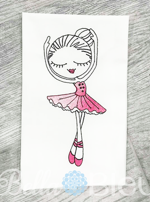 Ballerina Ballet Sketchy Girl Machine Embroidery Design