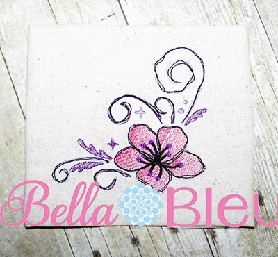 Hibiscus floral Sketchy fill machine embroidery design