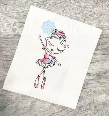 Sketchy Color Blending Ballerina Embroidery Design